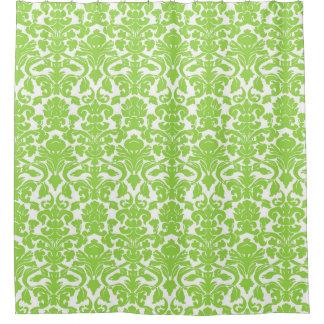 ライムグリーンの白い花のダマスク織のシャワー・カーテン シャワーカーテン
