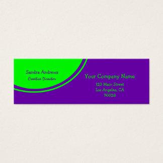 ライムグリーンの紫色の円 スキニー名刺