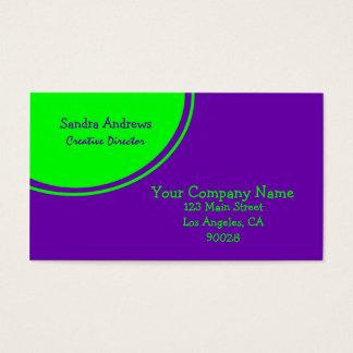 ライムグリーンの紫色の円 名刺