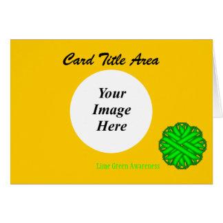 ライムグリーンの花のリボンのテンプレート カード