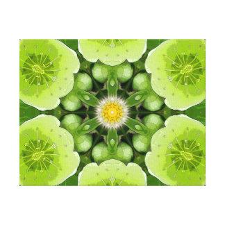 ライムグリーンの花の曼荼羅 キャンバスプリント