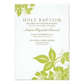 ライムグリーンの花の神聖な洗礼の招待状 カード