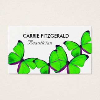 ライムグリーンの蝶、美容師 名刺