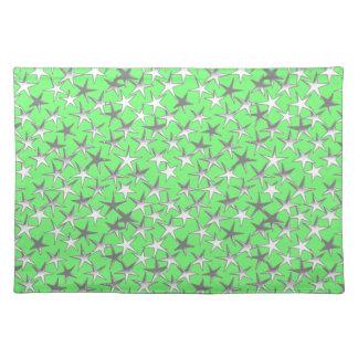 ライムグリーンの銀製の星、 ランチョンマット