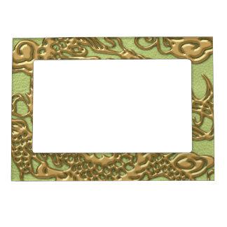 ライムグリーンの革質の金ゴールドのドラゴン マグネットフレーム
