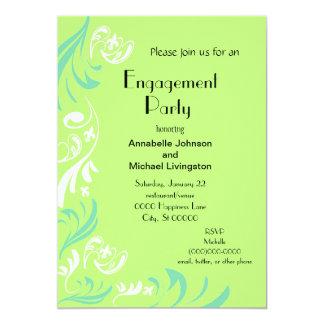 ライムグリーンの(紋章の)フラ・ダ・リのつる植物の婚約パーティ カード