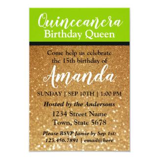 ライムグリーンのQuinceañeraの誕生日の招待状のグリッター カード