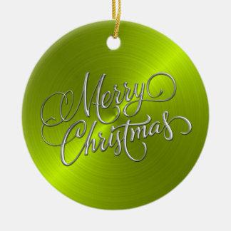 ライムグリーンシーンおよび銀製のメリークリスマス セラミックオーナメント