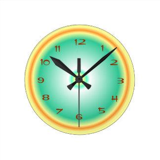 ライムグリーンレモン/Orange >台所時計 ラウンド壁時計