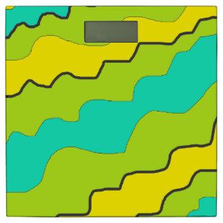 ライムグリーン及びティール(緑がかった色)および黄色い体重計 体重計