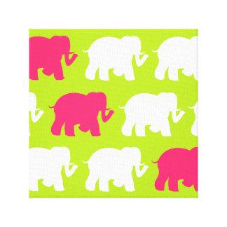 ライムグリーン及びピンク象の包まれたなキャンバス キャンバスプリント