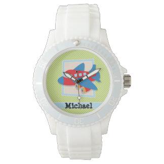 ライムグリーン及び白のストライプの飛行機 腕時計