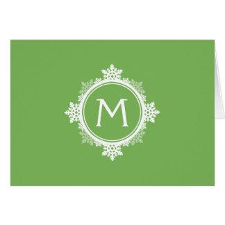 ライムグリーン及び白の雪片のリースのモノグラム カード