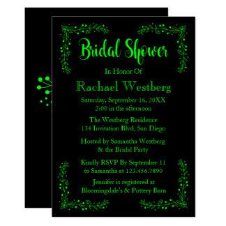 ライムグリーン及び黒のブライダルシャワーの花柄の葉 カード