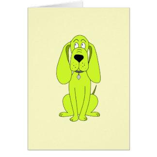ライムグリーン犬。 かわいい猟犬の漫画 カード