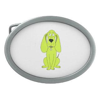 ライムグリーン犬。 かわいい猟犬の漫画 卵形バックル