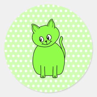 ライムグリーン猫 ラウンドシール