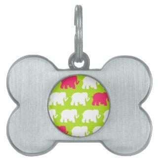 ライムグリーン象のデザイン ペットネームタグ