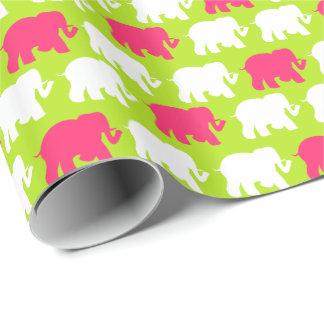 ライムグリーン象のデザイン ラッピングペーパー