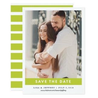 ライムグリーン モダンな愛カラー写真の保存日付 カード
