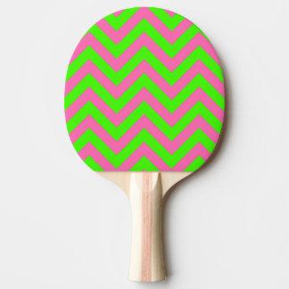 ライム、ショッキングピンク#2 LGシェブロンのジグザグパターン 卓球ラケット