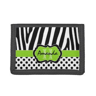 ライム、黒、白いシマウマのストライプのな三つ折り財布