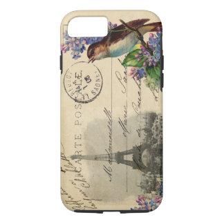 ライラックの例のパリの郵便はがきの鳥 iPhone 8/7ケース