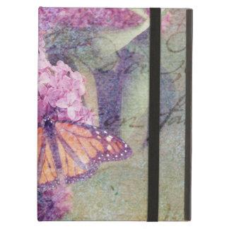 ライラックを持つ織り目加工の蝶 iPad AIRケース