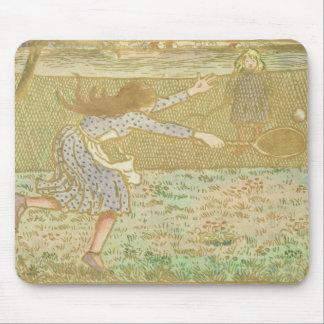 「ラインおよびCの木版画からのテニスを、遊んでいる女の子 マウスパッド