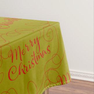 ラインが付いているクリスマスの赤く継ぎ目が無いパターン テーブルクロス