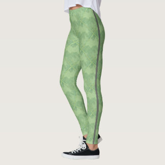 ラインが付いているシンプルな緑のチェック模様のセラミックタイル レギンス