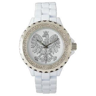 ラインストーンの白いエナメルの腕時計 腕時計