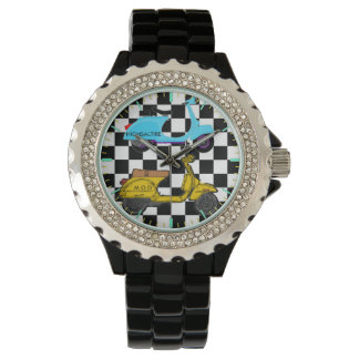 ラインストーンの腕時計、モダンな黒いエナメルの腕時計 腕時計