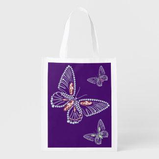 ラインストーンの蝶トートバック エコバッグ