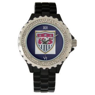 ラインストーン米国のサッカー 腕時計
