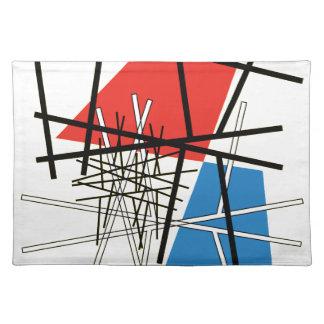 ライン及び飛行機-抽象美術の交差 ランチョンマット