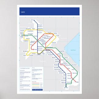 ラオスの管の地図 ポスター