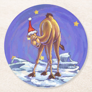 ラクダのクリスマス ラウンドペーパーコースター