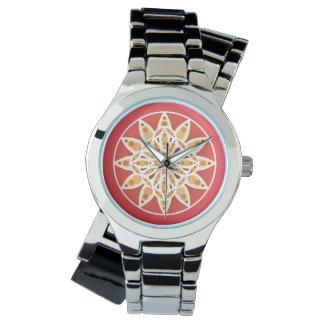 ラクダの曼荼羅パターン、えんじ色および白い 腕時計