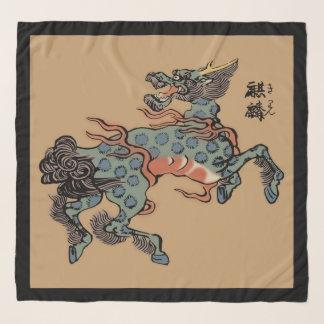 ラクダブラウンのヴィンテージの中国語Qilin スカーフ