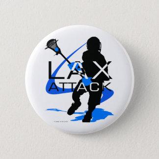 ラクロスの男の子のLAXの攻撃の青 5.7CM 丸型バッジ
