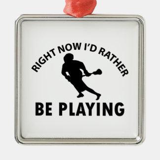 ラクロスを遊ぶこと メタルオーナメント