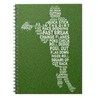 ラクロスプレーヤーのタイポグラフィのノート ノートブック