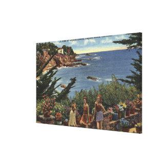 ラグナの海岸のヴィスタを楽しんでいる女の子 キャンバスプリント