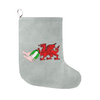 ラグビーのボールが付いているウェールズのラグビーのチームドラゴン ラージクリスマスストッキング