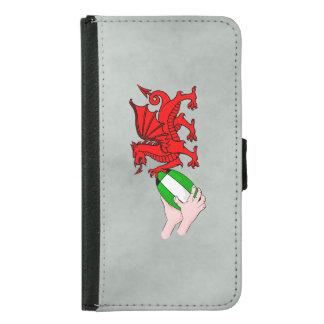 ラグビーのボールが付いているウェールズのラグビーのチームドラゴン GALAXY S5 ウォレットケース