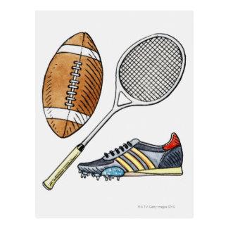 ラグビーのボール、テニスラケットのイラストレーション、 ポストカード