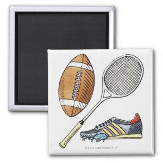 ラグビーのボール、テニスラケットのイラストレーション、 マグネット