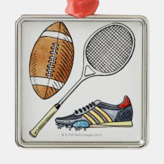 ラグビーのボール、テニスラケットのイラストレーション、 メタルオーナメント