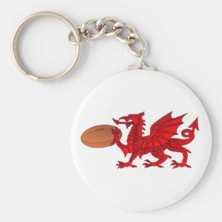 ラグビーのボールKeychainが付いているウェールズのドラゴン キーホルダー